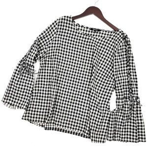 Madewell Lace Bell Sleeve Gingham Blouse XL